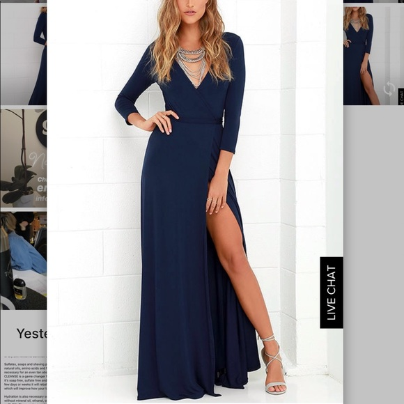 Lulu S Dresses Navy Blue Wedding Guest Wrap Maxi Dress Poshmark